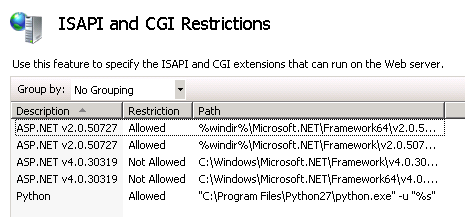 ISAPI and CGI Restriction python allowed
