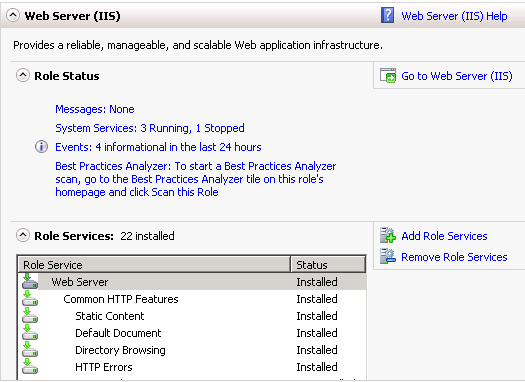 IIS server add role service dialog