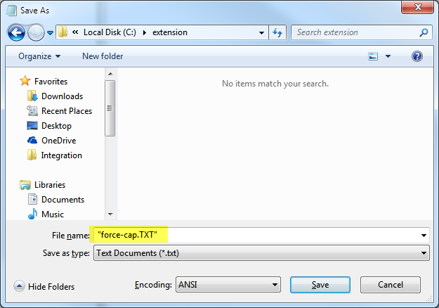 Force extension change in save as dialog