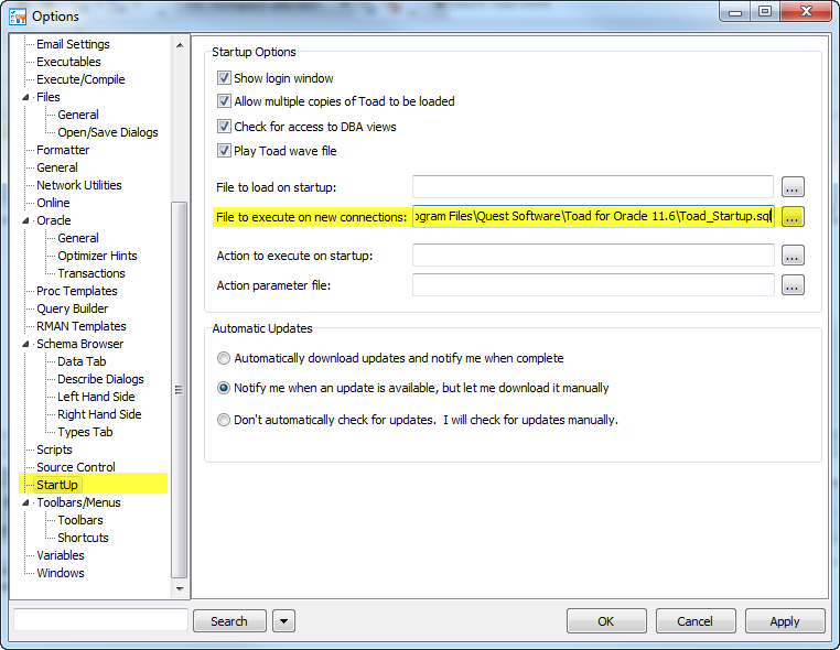 Toad NLS settings