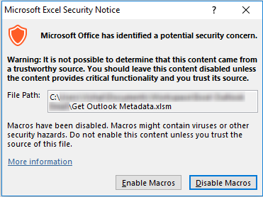 Excel macro security warning dialog