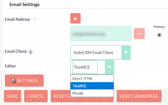 SuiteCRM settings to change email template to simple TinyMCE