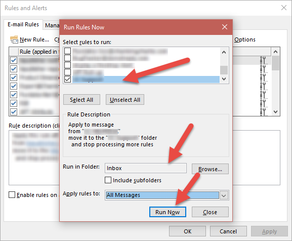 Outlook Rules and Alerts Wizard Run Rules Now