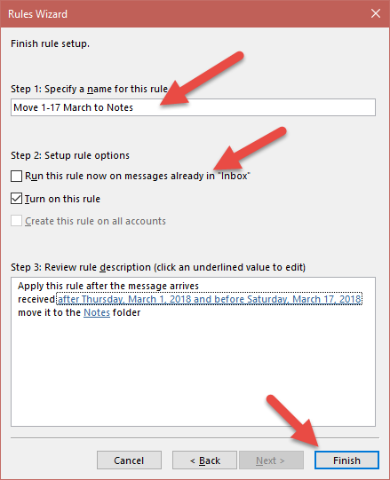 Outlook Rules and Alerts Wizard Finish