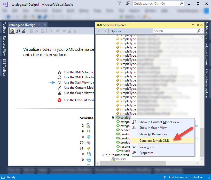 Visual Studio XSD file Generate Sample XML Data