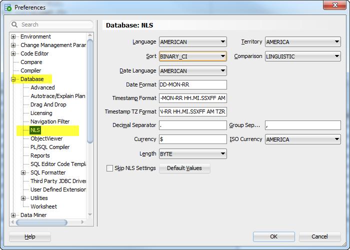 sql developer nls settings